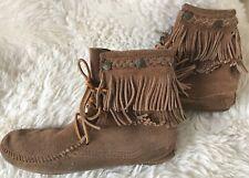 minnetonka mokassin boots indianerstiefel wildleder braun fransen gr. 38 o. 5