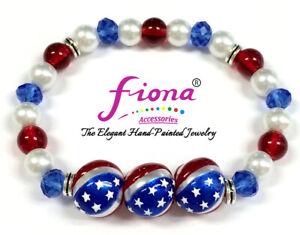 Patriotic Stretch Bracelet July 4th Red White Blue Stars Strips US Seller