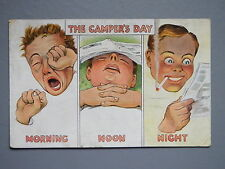R&L Postcard: Camper's Day, Camping, Tents, Smoking Man, Sleeping, Valentines
