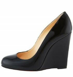 CHRISTIAN LOUBOUTIN $695 Ron Ron Black Patent Leather Wedge Pump Size 39