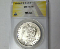 ANACS MS64 1884-O/O Morgan Silver Dollar Gem BU New Orleans Mint