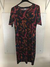 LuLaRoe Julia Dress, Medium, Green W/ Eucalyptus/Floral Print- EUC