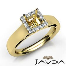 Princess Cut Diamond Engagement Semi Mount 0.2Ct Halo Prong Ring 18k Yellow Gold