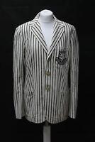 POLO RALPH LAUREN Ladies Cream Black Striped Cotton Blazer Jacket UK10 BNWT