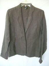 EILEEN FISHER Brown 100% Irish Linen 1-Button Blazer Jacket sz XS