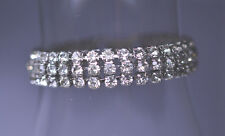 VINTAGE WEISS 1/2 INCH WIDE 3 ROW PRONG SET RHINESTONE BRACELET 7 INCHES LONG