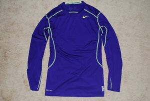 Men's Nike DriFit Pro Combat Purple/Neon Fitted L/S Shirt (Medium)