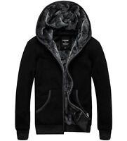 Men's Winter Warm Fur Lined Hooded Casual Jacket Thicken Sweater Hoodie Coat