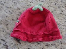 H & M Baby Girls Red Knitted Strawberry Winter Hat Size 6-12 Months