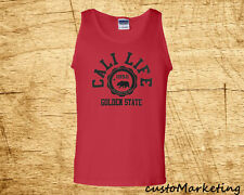 CALI LIFE TANK TOP MAN CALIFORNIA BEAR TEE GOLDEN STATE TANK TOP ALL COLORS