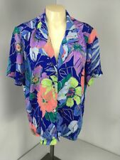 Vtg 80s Andre Sauvage Neon Floral Polka Dot Metallic Secretary 10 Shirt Blouse
