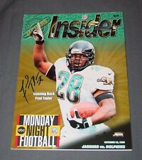 FRED TAYLOR signed JAGUARS GAME PROGRAM MNF Oct 12 1998 vs Dolphins MONDAY NIGHT