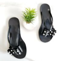KATE SPADE Francy Bow Embellished Black Jelly Thong Sandals Shoes Women's Size 7
