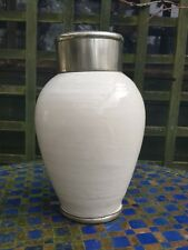 Moroccan Handmade Glazed Ceramic Pottery Pewter Metal Vase Plant Pot Decorative