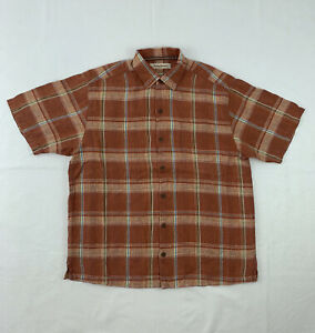 Tommy Bahama Linen Shirt Men's Large Plaid Short Sleeve Button Down