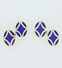 Vintage 18ct Yellow Gold Blue Enamelled Chain Link Cufflinks