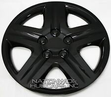 "Set of 4 BLACK 17"" Hub Caps Full Rim Wheel Covers 5 Spoke Star Hubs Steel Clips"