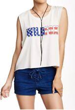 NWOT Wildfox American Flag Tank Stars Stripes Logo Muscle Tee Tank Top Med M
