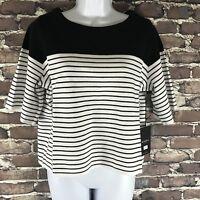 New RONDINA Sz Medium Crop Top Boat Neck Striped Cotton Black White Shirt NWT