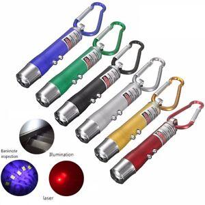 3 in 1 Aluminium LED Torch Laser UV Light Mini Pocket KeyRing Detection Pen