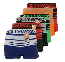 6 Seamless Boxer Briefs Microfiber HOLLYWOOD PRO STRIPED Compression Underwear