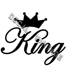 King Text Script Crown Vinyl Sticker Decal JDM Race Drift Choose Size & Color