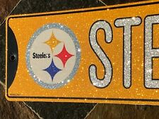 "Glitter Bling Street Sign - Pittsburgh Steelers - ""Steelers St."" - 16"" x 3.75"""