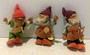 """THREE VTG  #5"""" GNOME FIGURE DOLLS W/ ORIGINAL HANG TAG MADE IN GERMANY"""