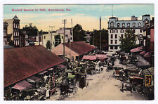 Rare 1907-1915 Market Square in 1860 Harrisburg Pa Pre Civil War View Antique Db