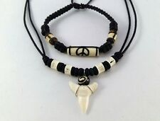 NEW mens bracelet real shark teeth necklace peace set braided wax rope surfer
