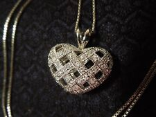 Sterling Silver Lattice Puffed Heart & Crystal Pendant and Chain Necklace