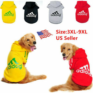 Adidog Pet Large Dog Clothes Hoodie Winter Warm Sweatshirt Shirt Coat Jacket US