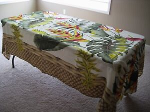 Hawaiian tropical floral fitted tablecloth with drape elastic 5 or 6 table luau