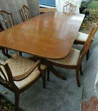 "Light Mahogany Dining Room Set Table and 6 Chairs circa 1930 (90"" X 42"")"