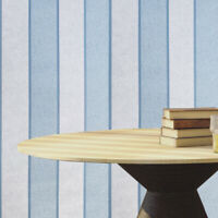 Modern Striped Wallpaper roll white Blue Gray faux fabric textured lines stripes