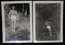 2Vintage Photos Young Smiling Lady Posing Sleeveless Shirt White Shorts Outdoors
