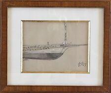 Pierre ROY  Nantes 1880-1950,POM.Proue coupée du Catania.Crayon.SBD.1904.16x20.