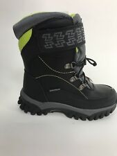 New Storm By Cougar Boys Winter Boots SZ 1 M Black/ Green