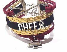 cheerleader cheer Infinity Love Bracelet Maroon, Gold & black w megaphone charm
