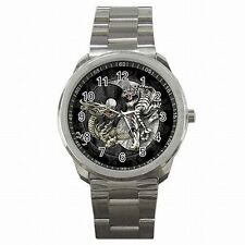 Yin Yang Dragon White Tiger Chinese Symbol Stainless Steel Watch