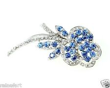 W Swarovski Crystal Blue And Clear Rose Flower Floral New Brooch
