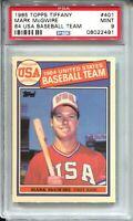 1985 Topps Tiffany Baseball #401 Mark McGwire Team USA Rookie Card RC PSA MINT 9