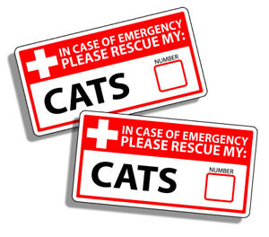 CAT Emergency Pet Rescue Sticker 1st First Aid FIRE Safety Window Door Decal 911