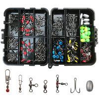 175Pcs/box Fishing Tackle Accessories Kit Including Hooks Beads Sinker Swivels