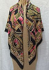 VIINTAGE 80S LARGE SQ BLACK BACKGROUND CLASSICAL DESIGN SCARF SHAWL WRAP STOLE