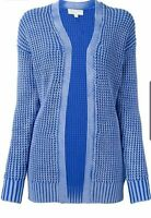 Michael Kors Knit Cotton Cardigan Women Open Front Sweater Dyed Blue L
