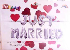 BALLONGIRLANDE ' JUST MARRIED ' 4 METER BUCHSTABEN Girlande SILBER Folienballon