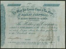 More details for west par consols copper & tin mines, st. blazey, cornwall, 5 shares of £1, ci...