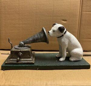 Cast Iron HMV Dog And Gramophone Nipper Dog Ornament Reproduction