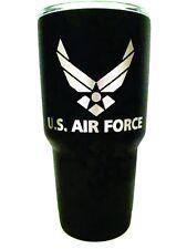 Polar Camel Black Powder Tumbler - U.S. Air Force Engraved 30 OZ - BOTH SIDES!